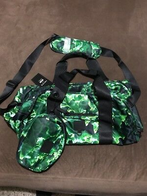 NWT ZARA TEREZ Duffle Bag Green And Black With Small Matching Cosmetic Case