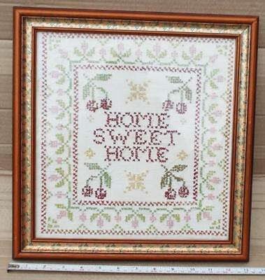 Home Sweet Home Sampler / Cross Stitch in Frame. 13 1/2 x 14 in. approx.