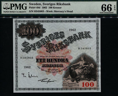 TT PK 48d 1962 SWEDEN 100 KRONOR PMG 66 EPQ GEM UNCIRCULATED NONE GRADED FINER!