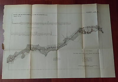 1876 Sketch Map of Canal between Neuse and Cape Fear Rivers North Carolina