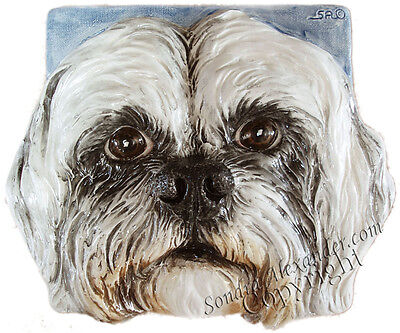 LHASO APSO Dog Ceramic Tile Handmade 3d Pet Portrait Sondra Alexander Art