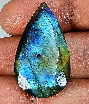 21.55 cts. Purple flash Multi labradorite Cut Gemstone Pear 16X29  ;#20130