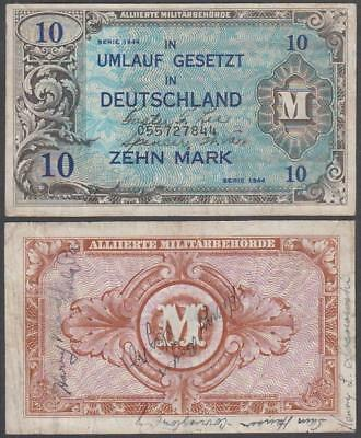 "1944 WW II Allied Military Currency Germany ""Shortsnorter"" 10 Marks"