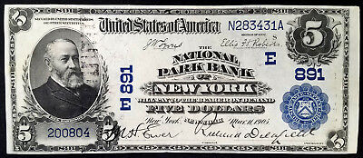 Series of 1902 $5.00 National Currency from The National Park Bank of New York!