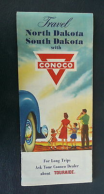1957 North South Dakota  road map Conoco oil stations marked