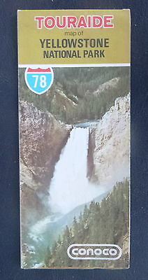 1978 Yellowstone National Park road   map Conoco   oil gas guide