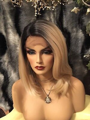 TRENDY, Human Hair Mix, Lace Side Part, Rooted Blonde, Medium  Cut Wig❤️