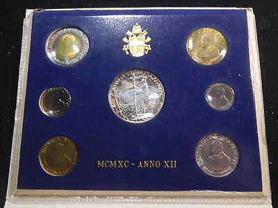 W49 Italy Vatican City 1990 Silver 7 Coin Mint Set in Official Folder