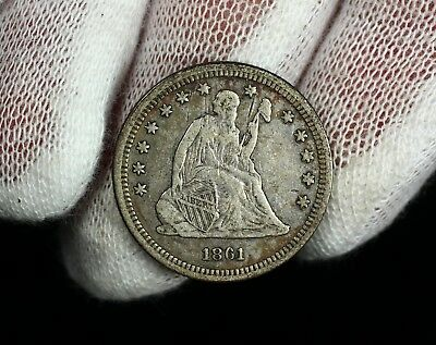 1861 Seated Liberty Quarter Dollar 25c Silver Coin