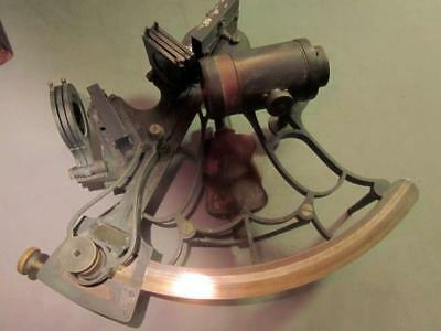 120+ Years Old Quality Bell Frame Sextant with Wood Case and All Its Fittings