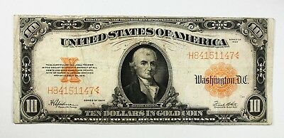 1922 $10 Ten Dollar Large Size Gold Certificate Note