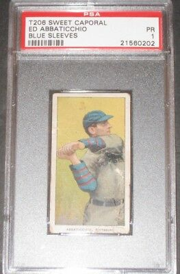 1909 T206  ED ABBATICCHIO Sweet Caporal Baseball Card Antique PSA 1 PR