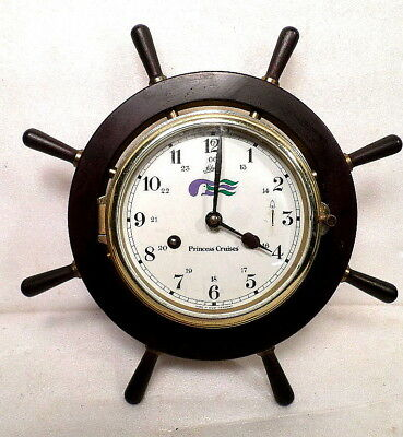 Vintage Brass German Ship's Bell Striking Clock From Princess Cruises
