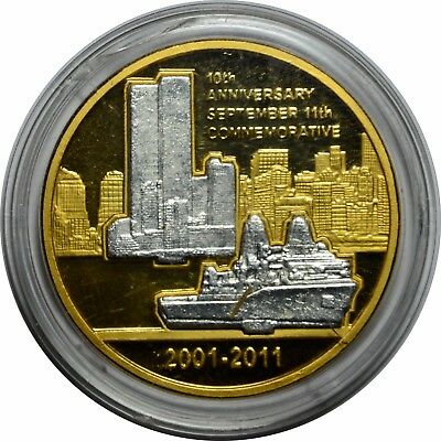 10th Anniversary 9/11 Commemorative Medal Gold/Silver Clad ..