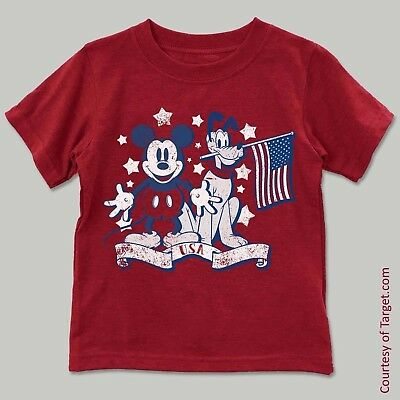 Disney USA Patriotic Mickey and Pluto Infant/Toddler Boys Shirt *12 Months or 3T