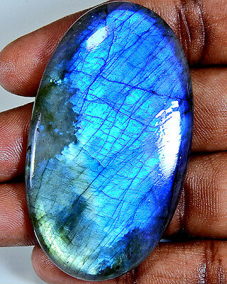 "Natural ""Fantastic"" Blue labradorite Cabochon Gemstone Oval 129.00cts. ;#41710"