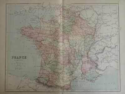 Map of France in Provinces (Nr. 7) from Philips' Comprehensive Atlas 1852. Phili