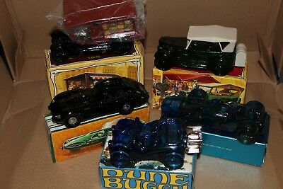 Lot Of 5 Vintage Avon Collector Car Decanters Bottles Full With After Shave Nib