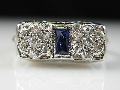 Vintage Sapphire Old European Cut Diamond Ring 14K White Art Deco Estate Fine