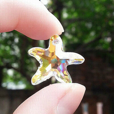 20/50/100x Glass Starfish Crystal Clear AB Beads Charm Pendants Necklace Jewelry