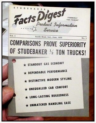 1953 Studebaker truck R5 R6 Facts Digest salesman compare w Dodge Ford GMC Chevy