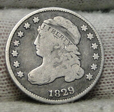 1829 Capped Bust Dime 10C 10 Cents - Nice Old Coin, Free Shipping  (7189)