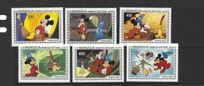 Mint Mongolia The Sorcerers Apprentice Disney Mickey Stamps Set Of 6