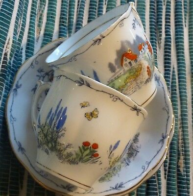 "Pair of Bell China ""RED ROOF"" Bone China Tea Cups & Saucers  -- Made in England"