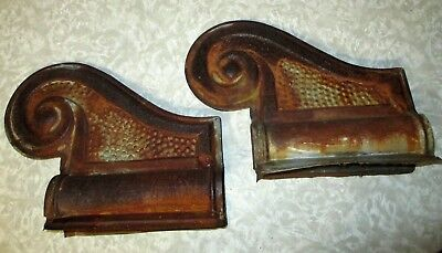 ARCHITECTURAL ANTIQUE PAIR of metal Roof Ridge Corner Caps old Barn ~ House