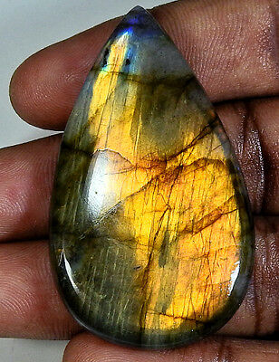 89.50cts. Natural Golden labradorite Cabochon Gemstone Pear ;#4409