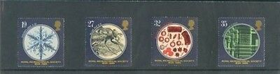MINT 1989 GB 150th ANNIVERSARIES ROYAL MICROSCOPES SOCIETY  SET OF 4  MUH STAMPS