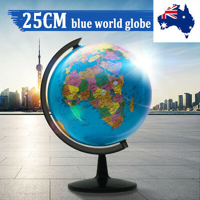 25cm Swivel Stand Rotating World Globe Geography Educational Student Kids Gift