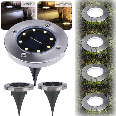 Solar Powered 5LED 8 LED Buried Under Ground Disk Light Garden Outdoor Deck Path