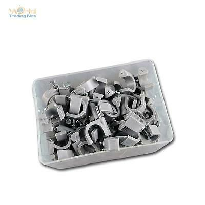 100 Cable Clamps Grey, for Cable Max Ø12mm Cable Clamp Nail Clamps Nail Clip