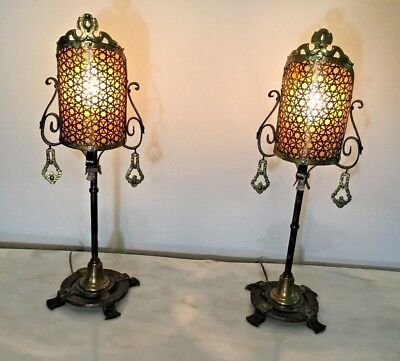 Pair of Early 20th C American Gothic Lanterns attributed to Edward Caldwell