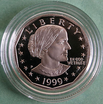 1999 P Proof Susan B Anthony Dollar SBA Coin Original Packaging
