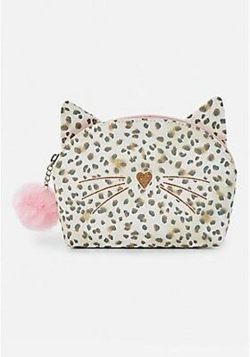 Justice Girls Glitter Cat Cosmetic Bag New with Tags