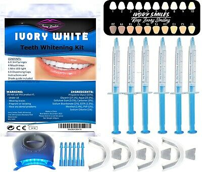 Teeth Whitening Kit Dental Quality Bleaching Gel Strong Home Whitening Led Light