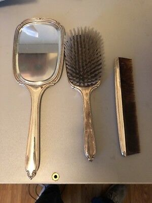 SILVER Vintage Sterling Silver International Vanity Set Mirror & Brush,comb