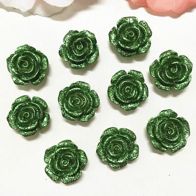 20PCS 14mm Green Resin Rose Flower flatback Appliques For phone/wedding/Craft