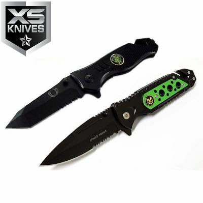 """2pc 8"""" Folding Tactical Military Hunting Survival Knife Set Outdoor Rescue"""