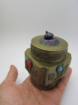 Vintage Chinese Brass Enamel Cobalt Blue Glass Tea Caddy Opium Snuff Match Box