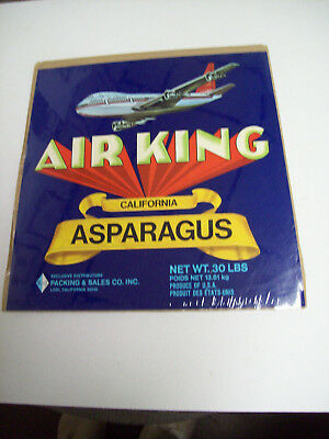 Sky Path Asparagus Crate Label San Francisco /& LA Shipping by Airplane