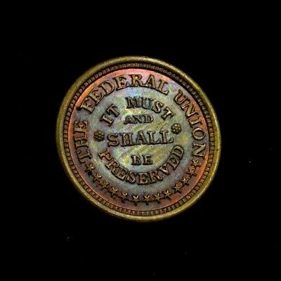 Civil War Token Federal Union Preserved / Army Navy Toned