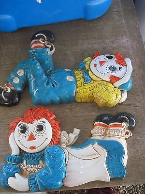 1977 Syroco Raggedy Ann & Andy Wall Plaques..Bobbs-Merrill Co...Good Vtg. cond