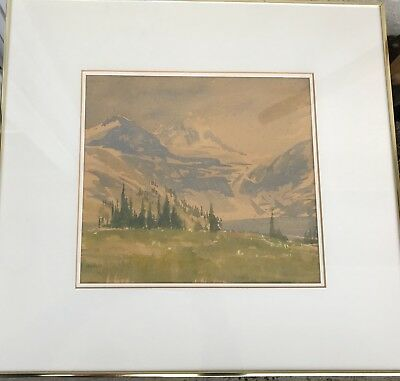 Watercolour by Canadian Artist John Harvie Titled 'Cloud on Mt. Assiniboine'