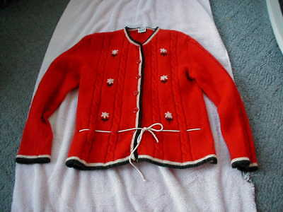 1970s vintage womens cardigan sweater Wool Wolle Germany small red white blue