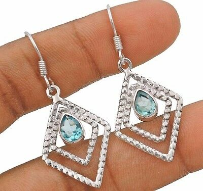 Aquamarine 925 Solid Sterling Silver Earrings Jewelry