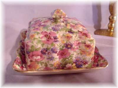 Vintage Old Foley James Kent Dubarry Chintz Square Covered Butter !
