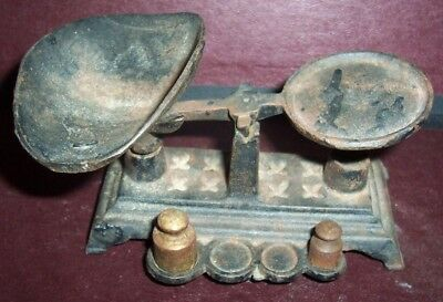 Vintage Antique Cast Iron Miniature CANDY SCALE ~ with 2 weights